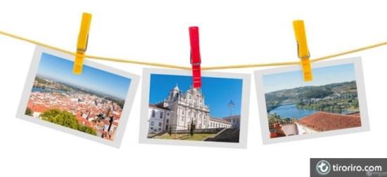 En la foto aparecen tres fotos con marco blanco colgadas con pinzas de una cuerda amarilla como si fuesen ropa