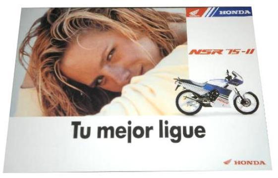 """En la foto otro folleto de la NSR 75, la segunda versión, el slogan es """"Tu mejor ligue"""""""