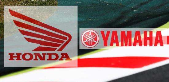 En la imagen el logotipo de Honda y e de Yamaha sobreimpresionados sobre un piano de un circuito de carreras