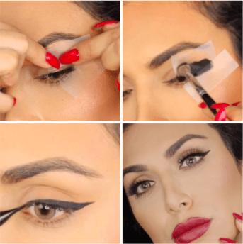 Imagen con cuatro fotos de una chica pin-up maquillándose