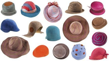 Imagen con varios sombreros diferentes de mujer