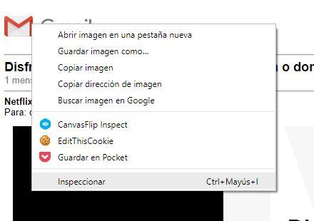 Captura de pantalla del menú emergente que sale al pulsar con el botón derecho sobre el logo de Gmail