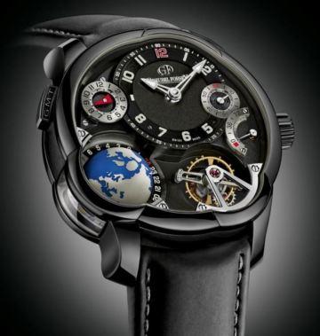 Imagen en primer plano de un reloj sofisticado de color negro de pulsera