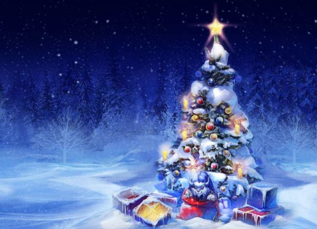 Imagen de un árbol de Navidad decorado con regalos sobre un fondo azul y blanco nevado