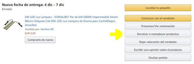 Captura de pantalla del producto que deseamos devolver a Amazon