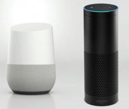 En la foto, juntos, uno al lado del otro los dos altavoces inteligentes más vendidos, el de Google y el de Amazon