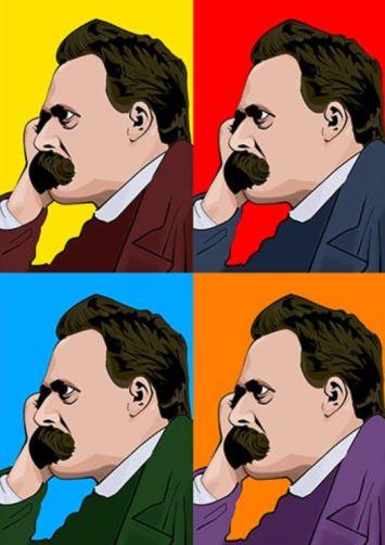 Imagen con cuatro retratos de perfil del filósofo alemán Nietzsche