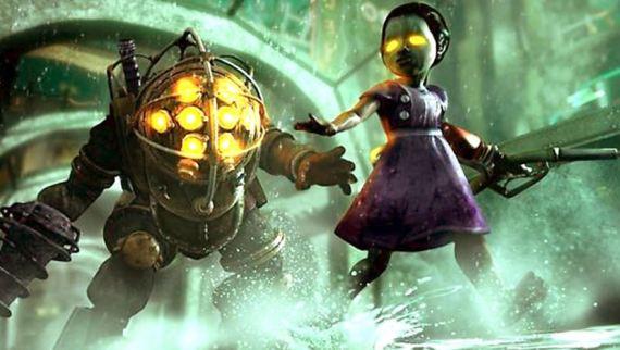 Una de las clásicas imágenes del excelente videojuego Bioshock donde se aprecia al Big Daddy y a la nia corriendo delante de él