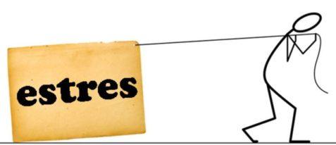 Dibujo de la figura de un muñeco arrastrando un bloque pesado que pone la palabra estrés