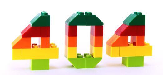 Una foto del número 404 hecho con piezas de Lego