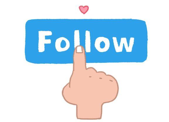 """En la imagen, que es un dibujo se ve un gran botón de """"Follow"""", """"Seguir"""" en inglés con un dedo pulsándolo"""