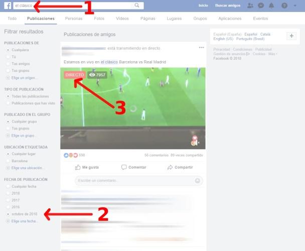 Una captura de pantalla con todos los pasos que hay que hacer para ver el partido Barcelona Real Madrid en Facebook