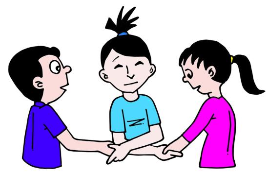 Dibujo de una mediadora entre dos personas dándose todos la mano
