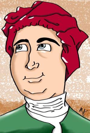 Dibujo, caricatura del filósofo David Hume