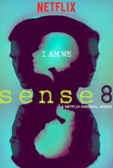 Carátula de la serie Sense 8 donde aparece entre siluetas los ocho perfiles de sus protagonistas