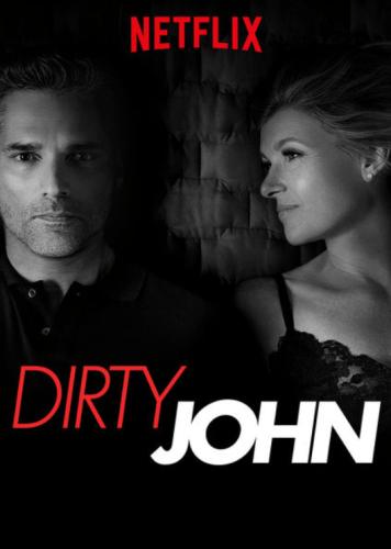 Carátula de la serie Dirty John, foto en blanco y negro con sus dos protagonistas
