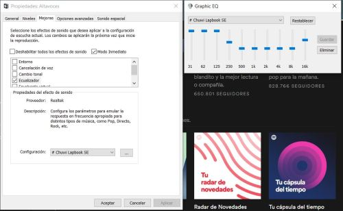 Una captura de pantalla con los ajustes del ecualizador de sonido de Windows 10 para que el portátil suene algo mejor