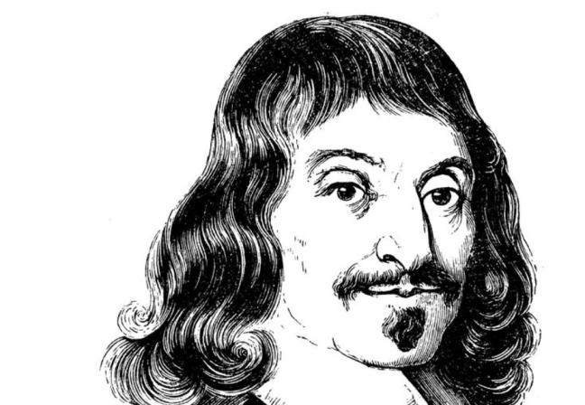 Imagen en blanco y negro de un retrato pintado de Descartes