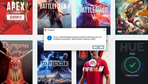 En la captura un error mientras instalábamos Battlefield 4