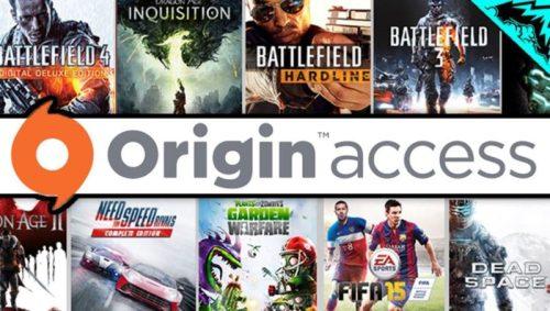 Una captura del logotipo de Origin Access con carátulas al fondo de algunos de los juegos incluidos en el servicio, como Battlefield 4, Need for Speed, Fifa, Dead Space