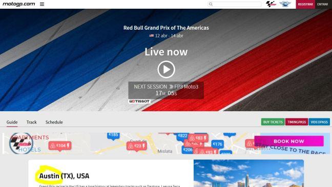 Captura de la pantalla de detalle de la carrera de MotoGP