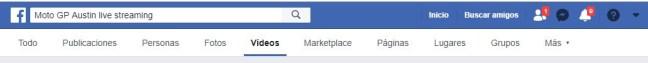 """Captura de la barra del buscador de Facebook que está ubicado en la parte superior y donde pegamos la frase a buscar y seleccionamos """"Vídeos"""""""