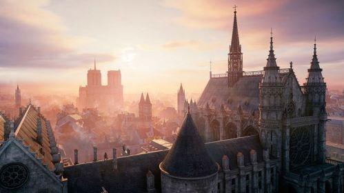 En la captura una vista aérea in game de la catedral de Notre Dame
