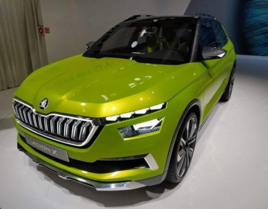 En la foto un Skoda Vision X con un color verde nada discreto