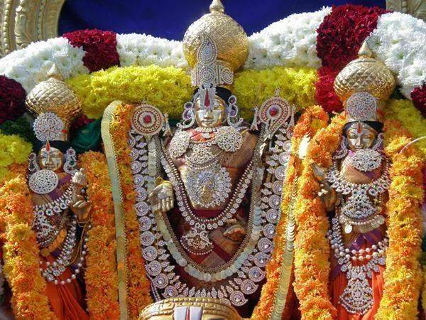 Lord Sri Venkateswara With His Consorts