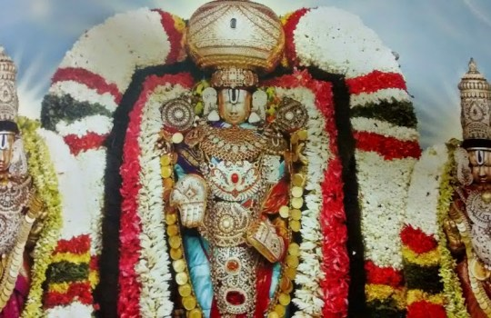 Lord Sri Venkateswara With Sridevi And Bhu Devi