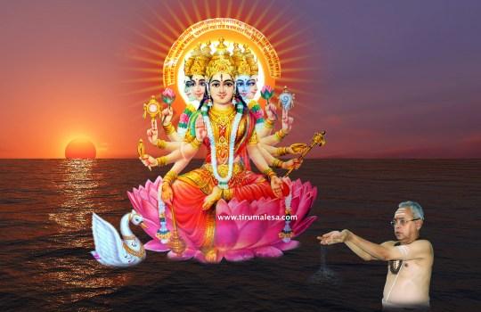 Mystic Brahmin Subbarao Offering Sandhya Vandanam To Goddess Gayathri
