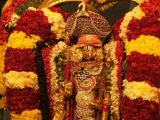 Lord Sri Venkateswara With Flower Garlands