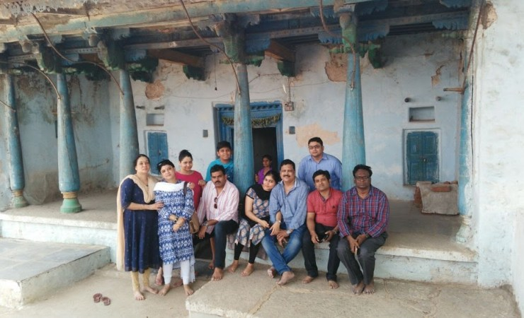 My Family And Friends Sitting In Front Of Bhagawan Sriram Sir's House Of Birth In Maldakal