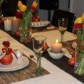 Tischdeko Normandie Tischdekoration Frankreich mit Apfel und Cidre