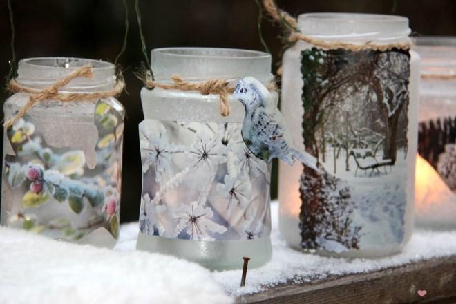 Marmeladengläser Upcycling im Winter