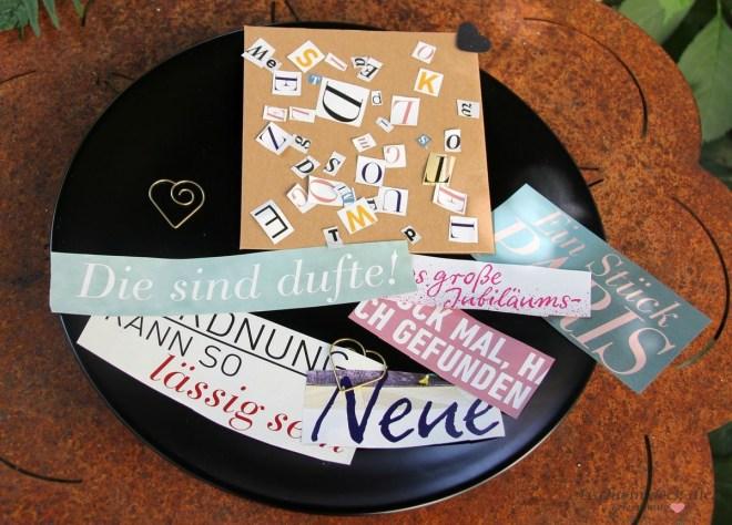 Buchstabensalat - Tischkarten basteln aus alten Zeitschriften