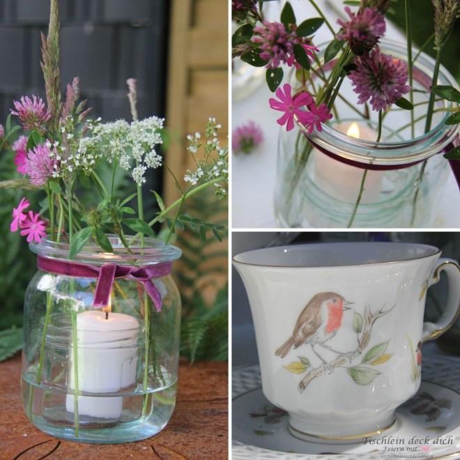 Windlichter mit Wiesenblumen, perfekt für die Kaffeetafel