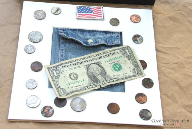 Geldgeschenk fuer USA Reisende, Dollar und Pennys