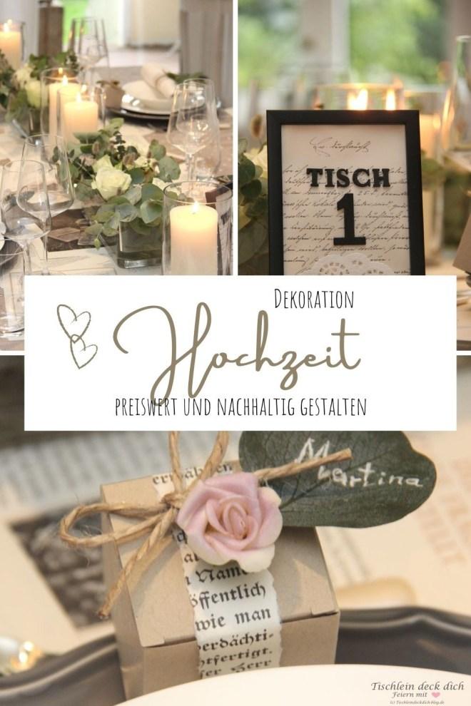 Hochzeit preiswert und nachhaltig dekorieren