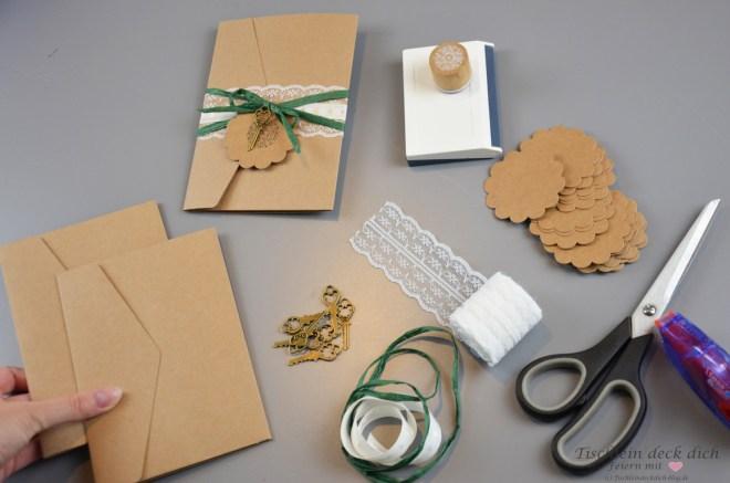 Pocketfold Einladungen mit Eukalyptus
