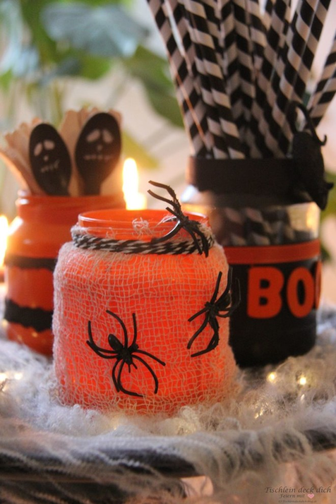 Halloween Gläser basteln