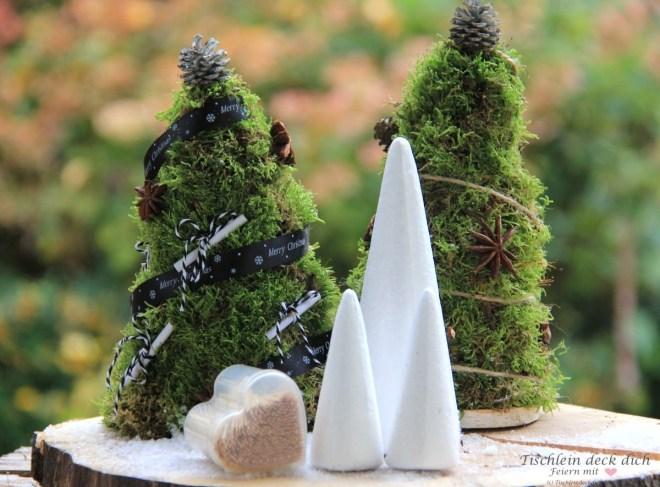 Moosbaum basteln mit Styroporkegel