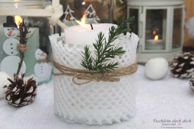 Upcyclingidee Wintergläser dekorieren