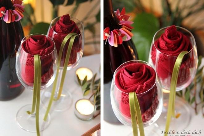 Servietten für den Valentinstag