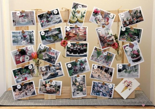 Tischlein deck dich Blog Geburtstag Bilderwand auf Holzpalette