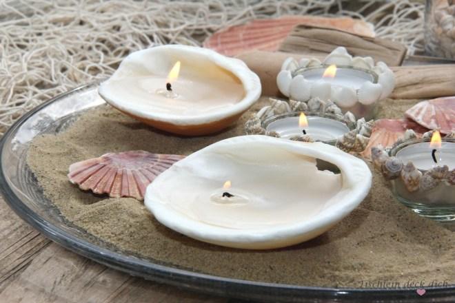 maritime-Kerzdendeko, selbstgemacht mit Muscheln
