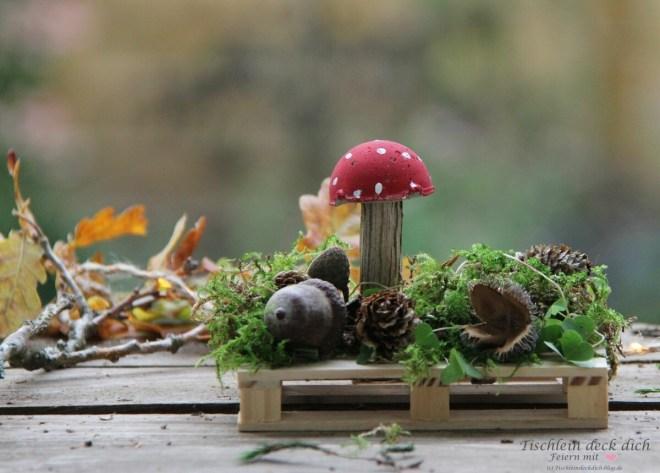 DIY kleine Betonpilze für die Herbstdeko