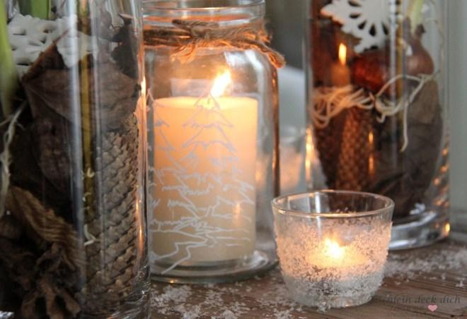 winterliche Kerzendekoration