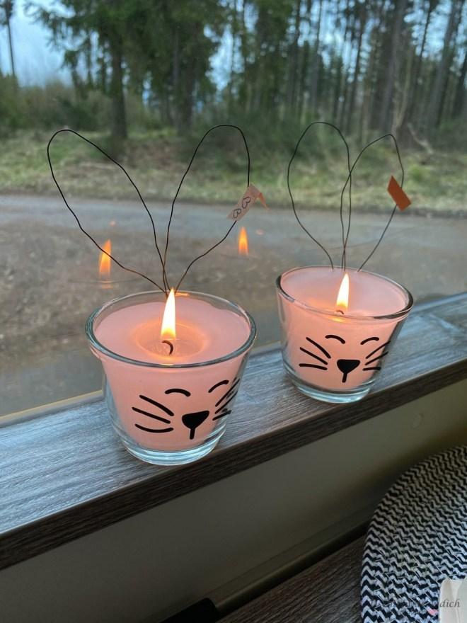 selbst gegossene Kerzen für den Osterbrunch