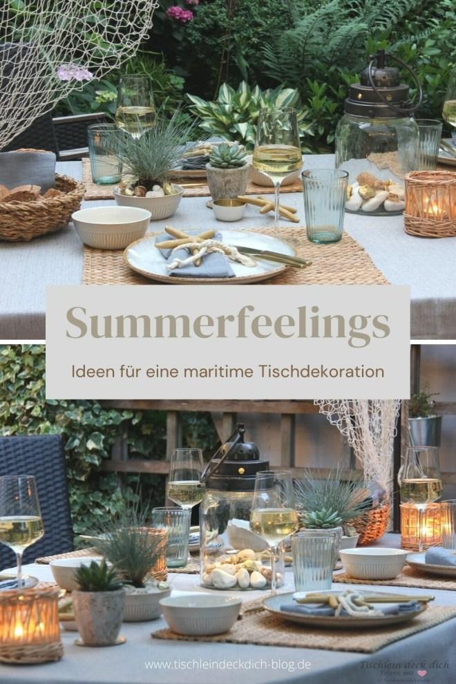 Pinterestpin - sommerliche Tischdeko im maritimen Look
